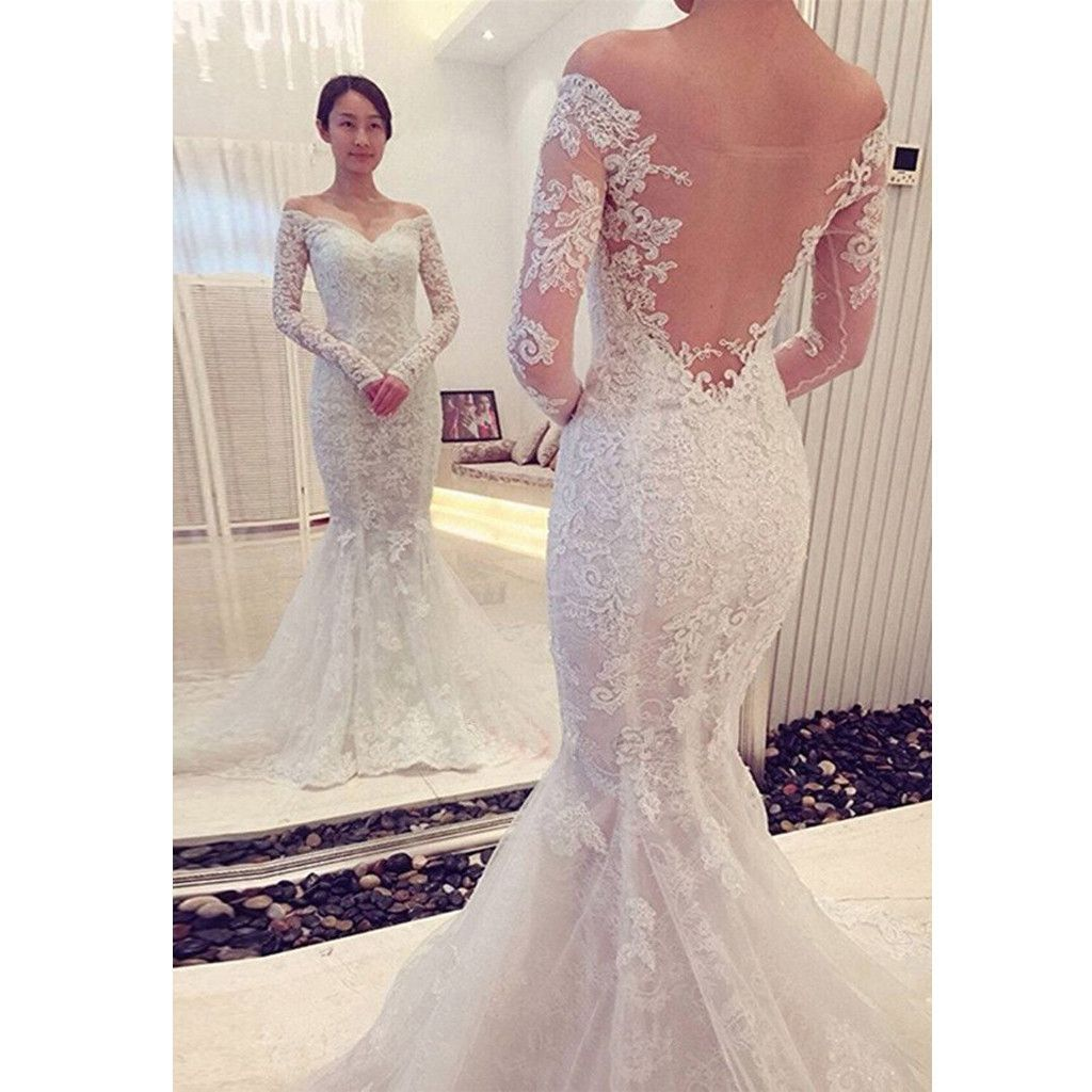 Simple Cheap Elegant Long Sleeves Wedding Dresses Lace: 2017 Long Sleeve Lace Mermaid Unique Sexy Formal Wedding