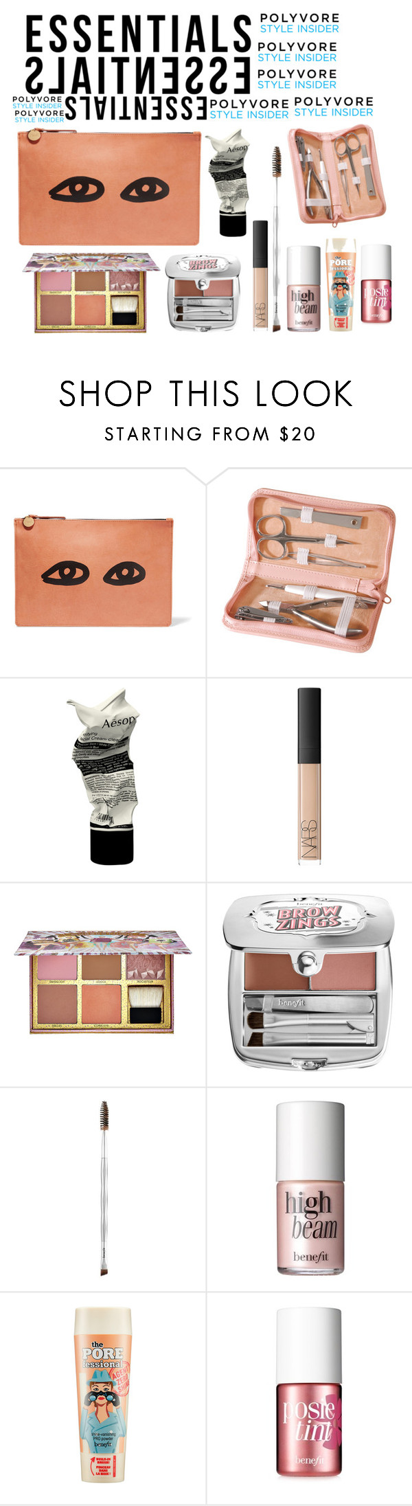 """""""Untitled #345"""" by alratajalsayegh ❤ liked on Polyvore featuring beauty, Clare V., Royce Leather, Aesop, NARS Cosmetics, Benefit, contestentry, PVStyleInsiderContest and makeupbagstaples"""