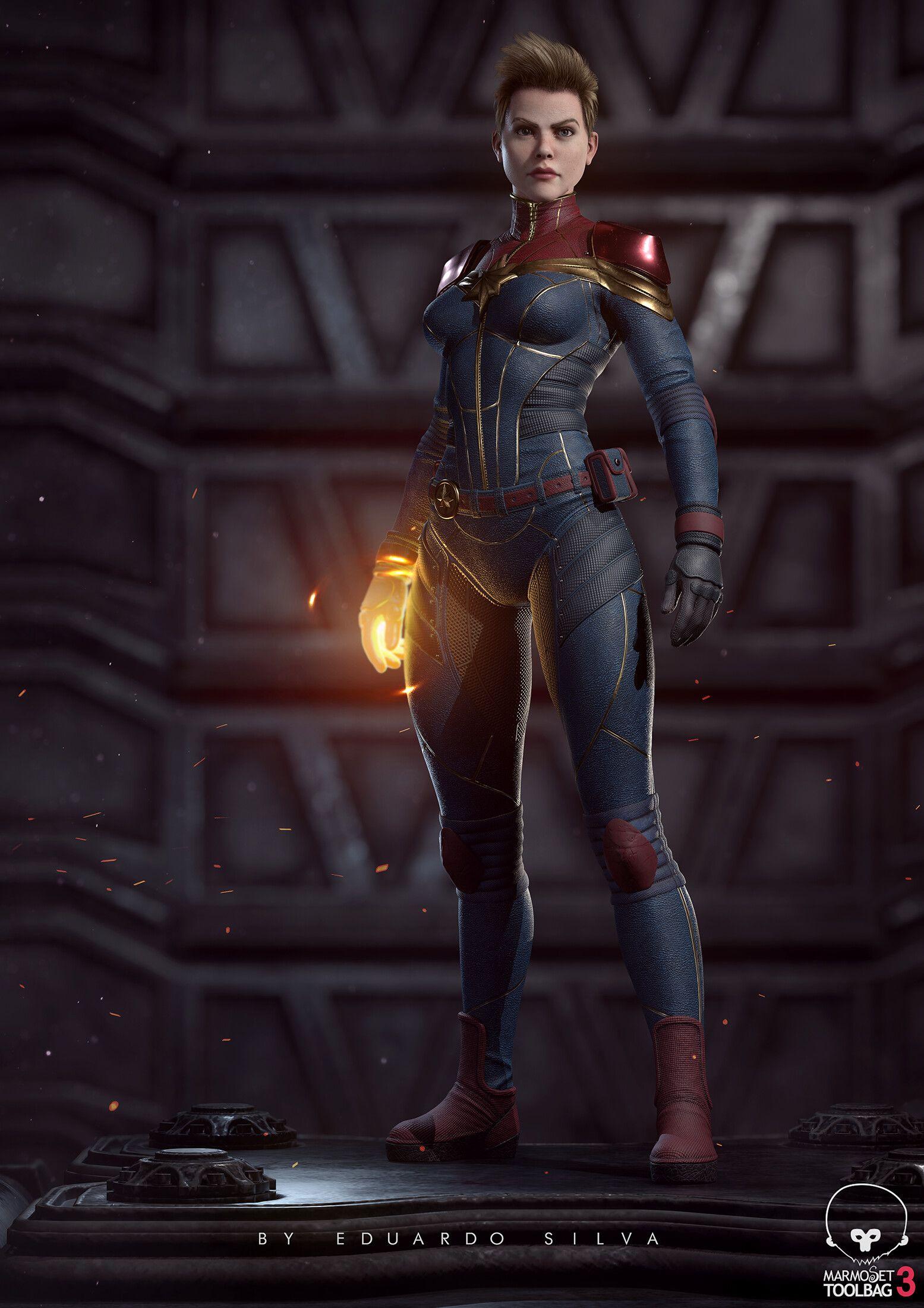 ArtStation Captain Marvel fan art real time, Eduardo