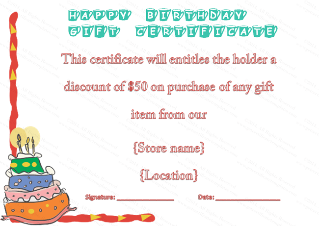 Colorful Cake Birthday Gift Certificate Template Beautiful