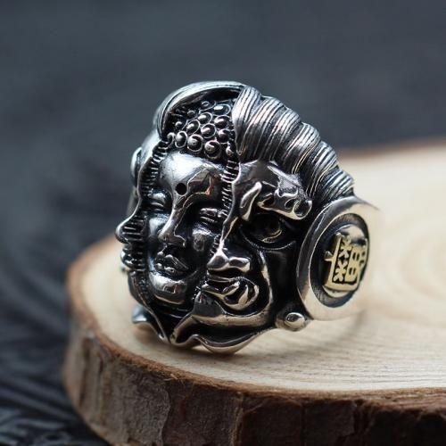 Vintage Complex Carved Adjustable Buddha Devil 925 Sterling Silver Ring