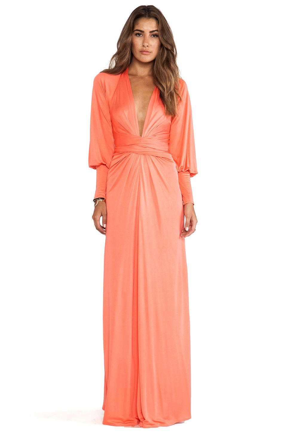 Issa Long Sleeve Wrap Maxi Dress in Coral | For The Wife ...
