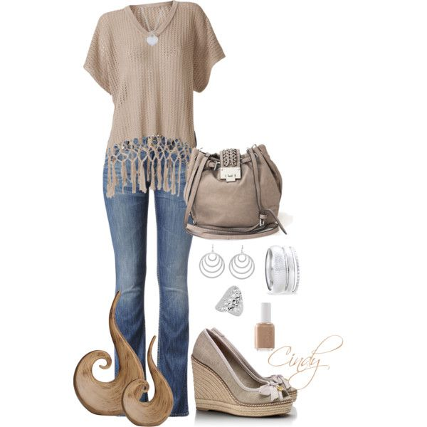 Spring by cindy32tn on Polyvore featuring Hudson Jeans, Tory Burch, Kammi, Style Tryst, MANGO, Fantasy Jewelry Box and Essie