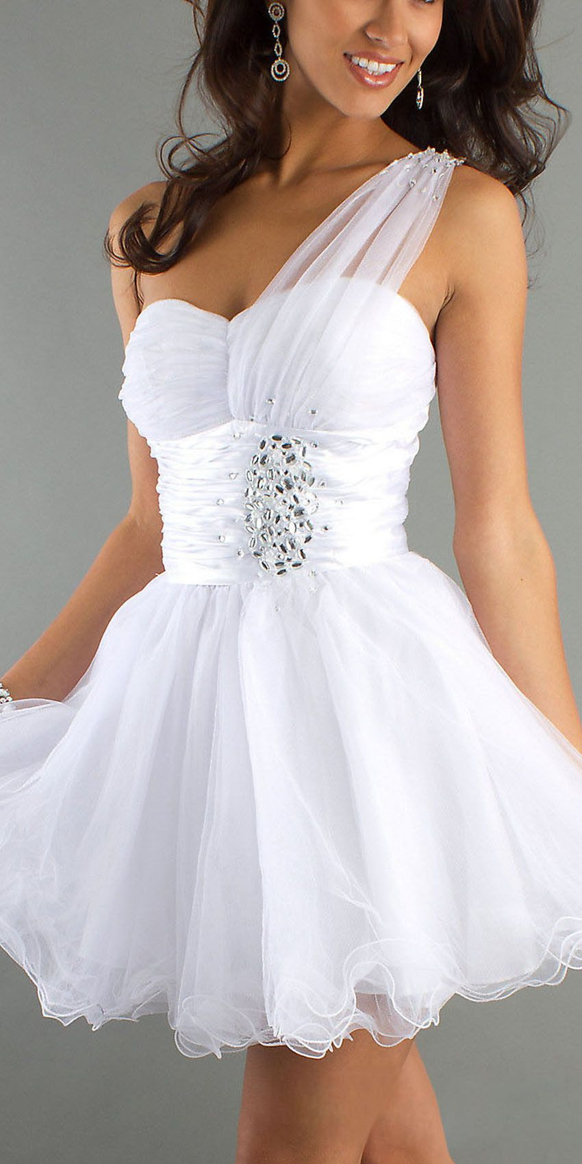 3c72cbdaeb7 CLEARANCE - One Shoulder White Homecoming Dress Tulle Skirt Sweetheart