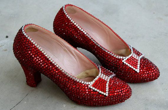 ADULT WOMENS RED RUBY SLIPPER HIGH HEEL DOROTHY WIZARD OF OZ SHOES