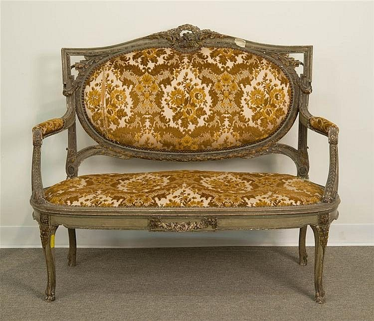 LOUIS XVI STYLE CARVED AND PAINTED UPHOLSTERED CANAPE;. Furniture  DesignPaint FurnitureCanapesAntique . - Antique Furniture Cleveland Antique Furniture