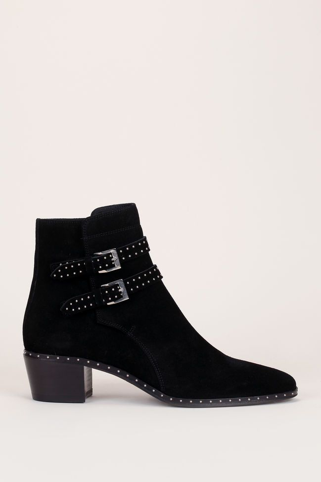2005a504f87 The Kooples Boots en cuir nubuck noir à brides cloutées Jenny - 310175 -  MSR Monshowroom.com