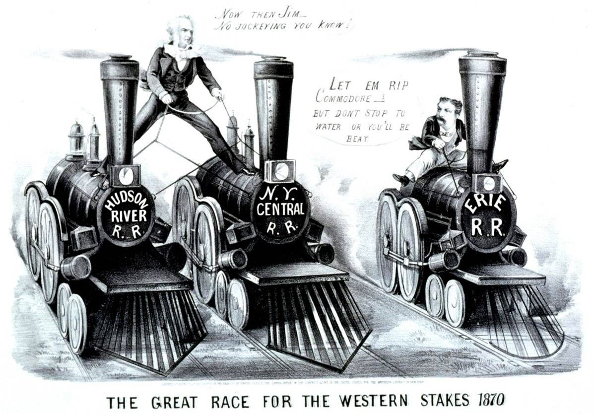 This cartoon depicts two railroad - 253.4KB
