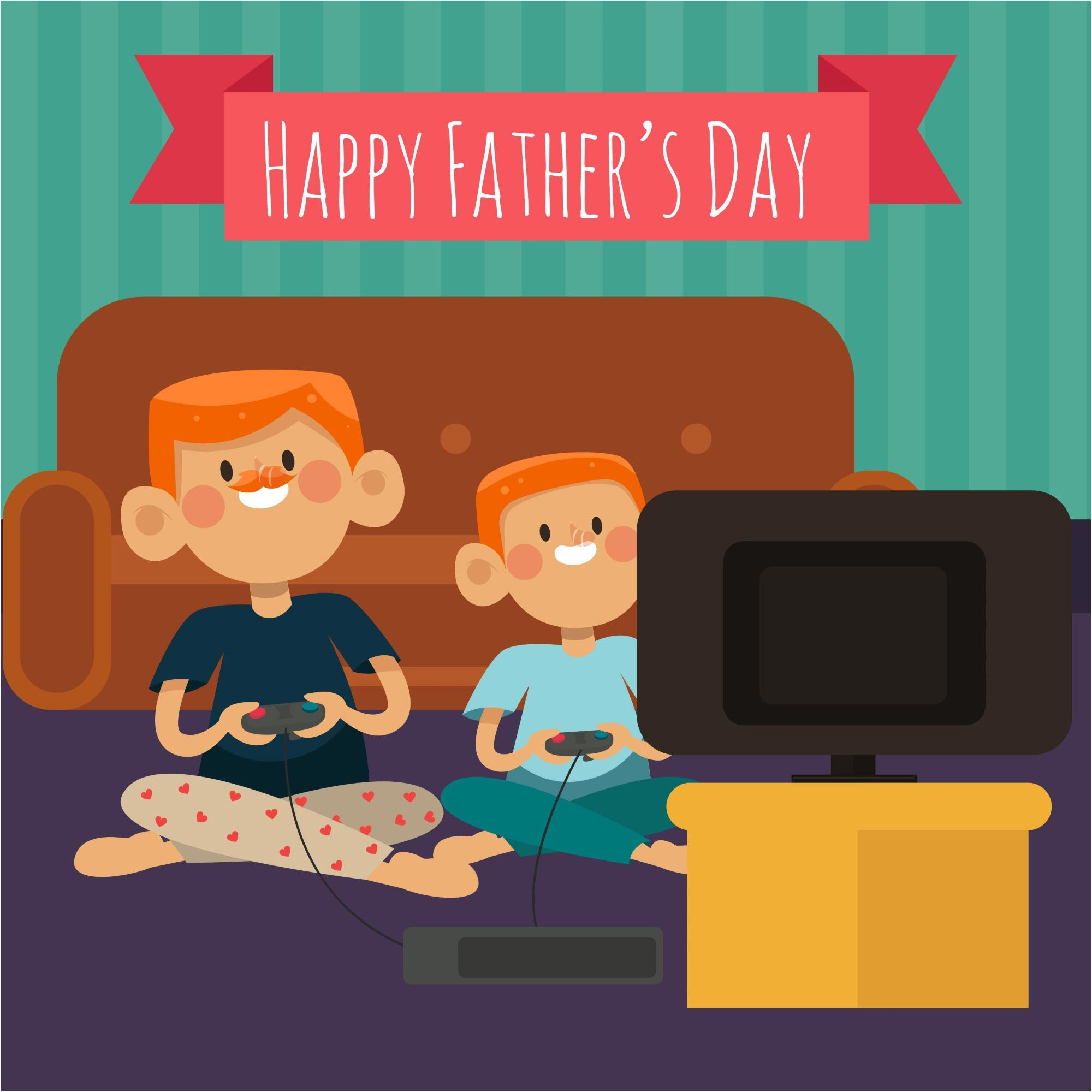 Happy Father's Day Boys Playing Game Background