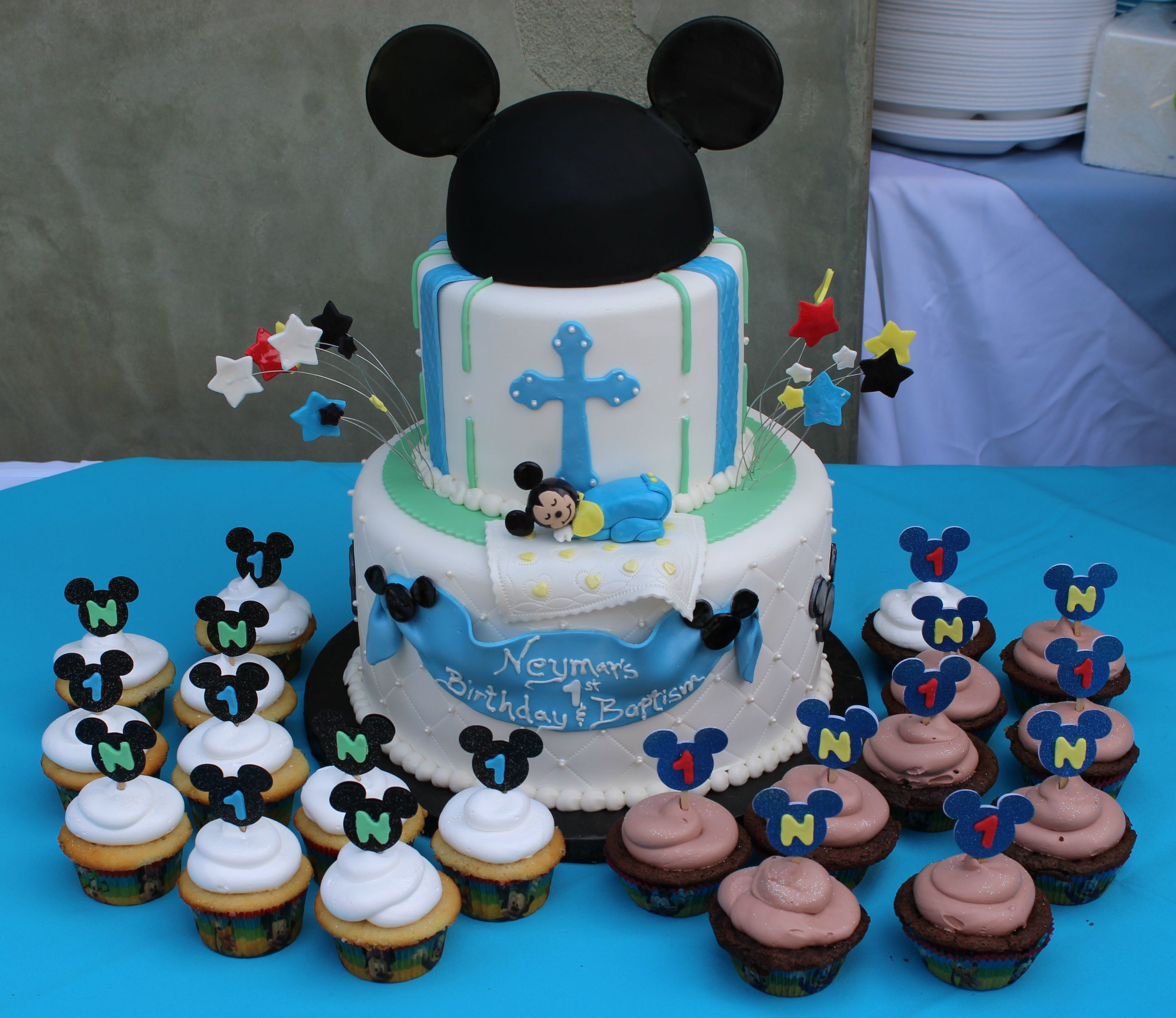 Prime Baby Mickey Birthday Baptism Cake With Images Mickey First Funny Birthday Cards Online Alyptdamsfinfo
