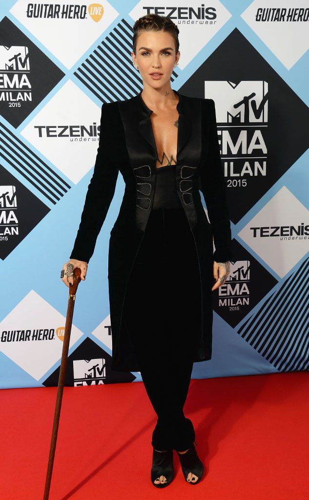 f270c6fca1 Ruby Rose from 2015 MTV EMAs Red Carpet Arrivals The Orange Is the New  Black star is razor-sharp in a tailored black design complete with a cane.