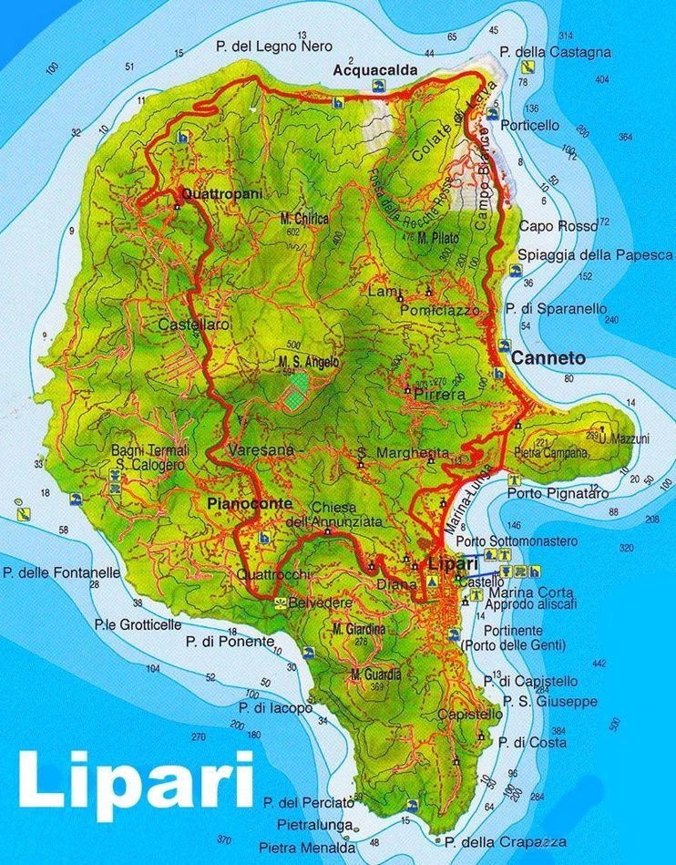 Lipari tourist map Pinterest Tourist map and Italy