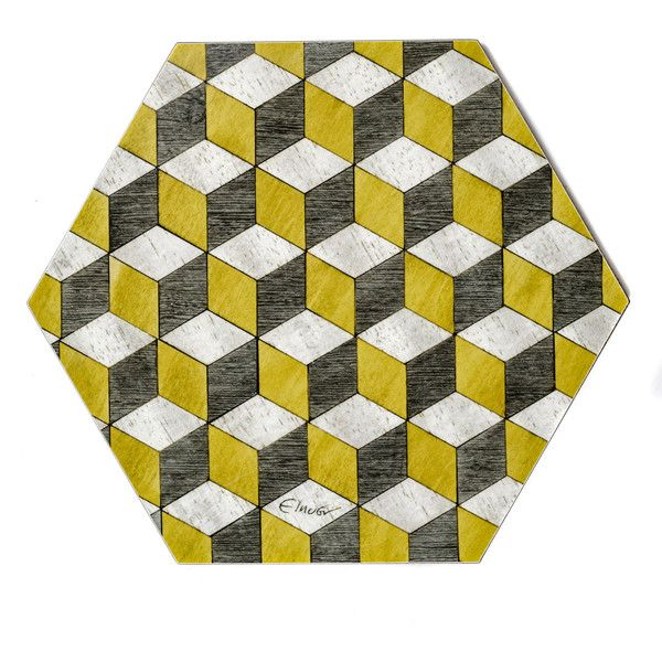 6 Placemats 6 Retro Placemats Geometric Tablemat Geometric Place Mat 62 Liked On Polyvore Featuring Home Kit Yellow Placemats Placemats Grey Placemats