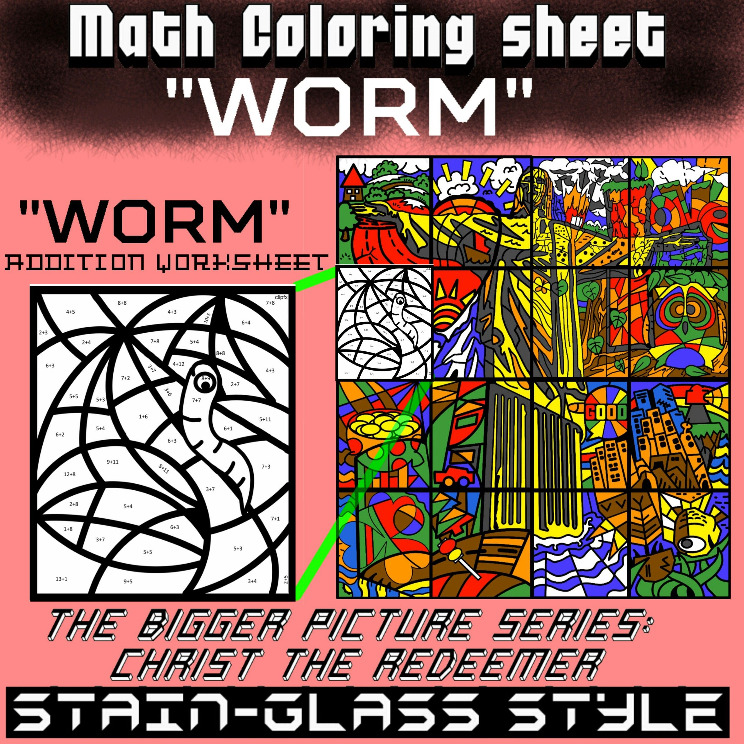 Math Colouring Worksheet Addition Worm