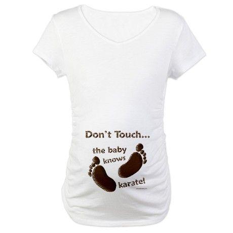 Grappige Zwangerschapskleding.Dont Touch Baby Knows Karate Funny Maternity Shirt Maternity T Shirt