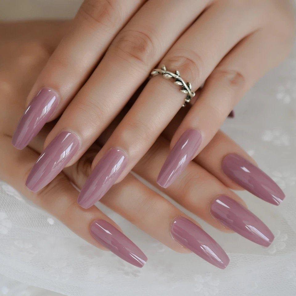 Dark Purple Pink Press On False Nails Extra Long Uv Gel Coffin Ballerina Flat Shape Press On Fingersnail Press On Nail Acrylic Nail Nails In 2020 Press On Nails Fake Nails