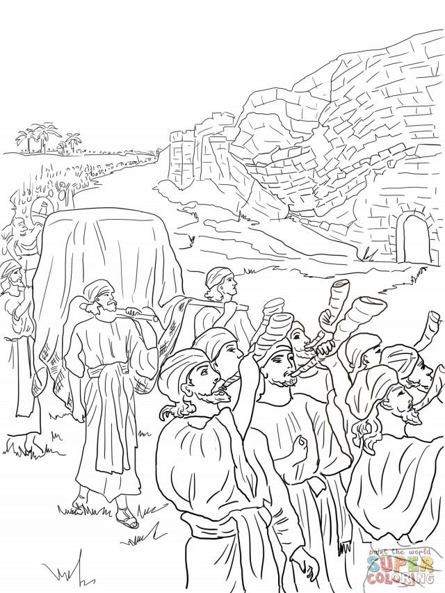 Joshua And The Fall Of Jericho Coloring Online Super Coloring Sunday School Coloring Pages Coloring Pages Bible Coloring Pages