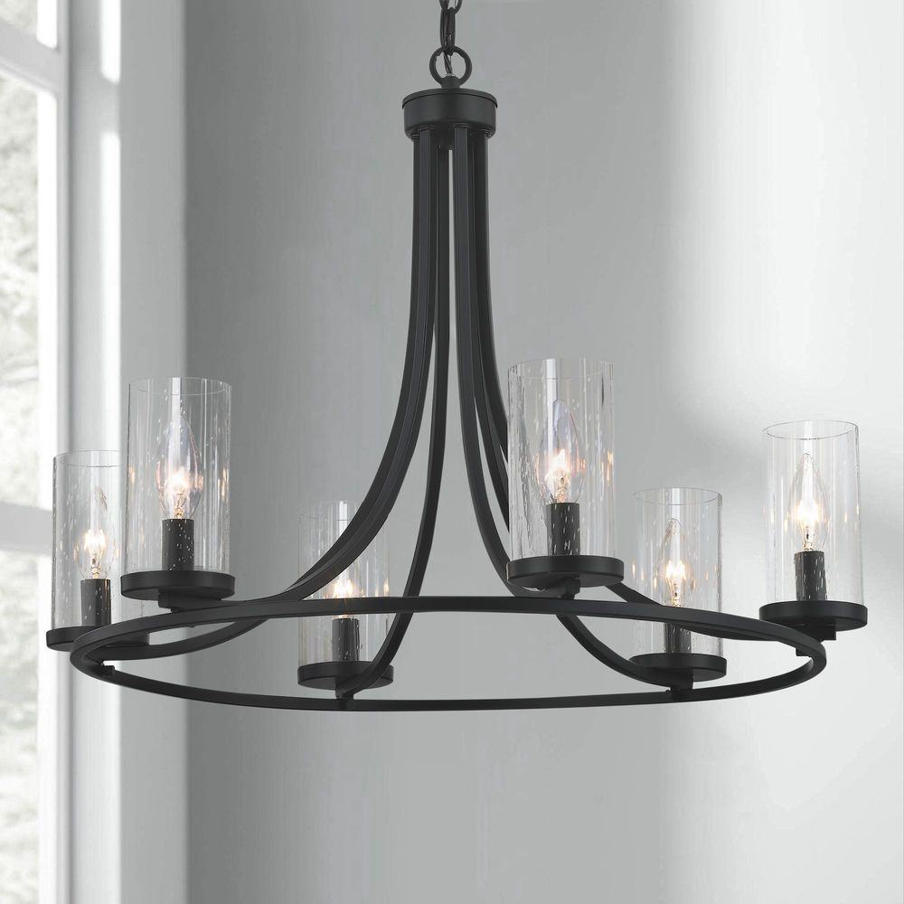 Seeded Glass Chandelier Matte Black 6 Lt In 2020 Glass Chandelier Chandelier Clear Light Bulbs