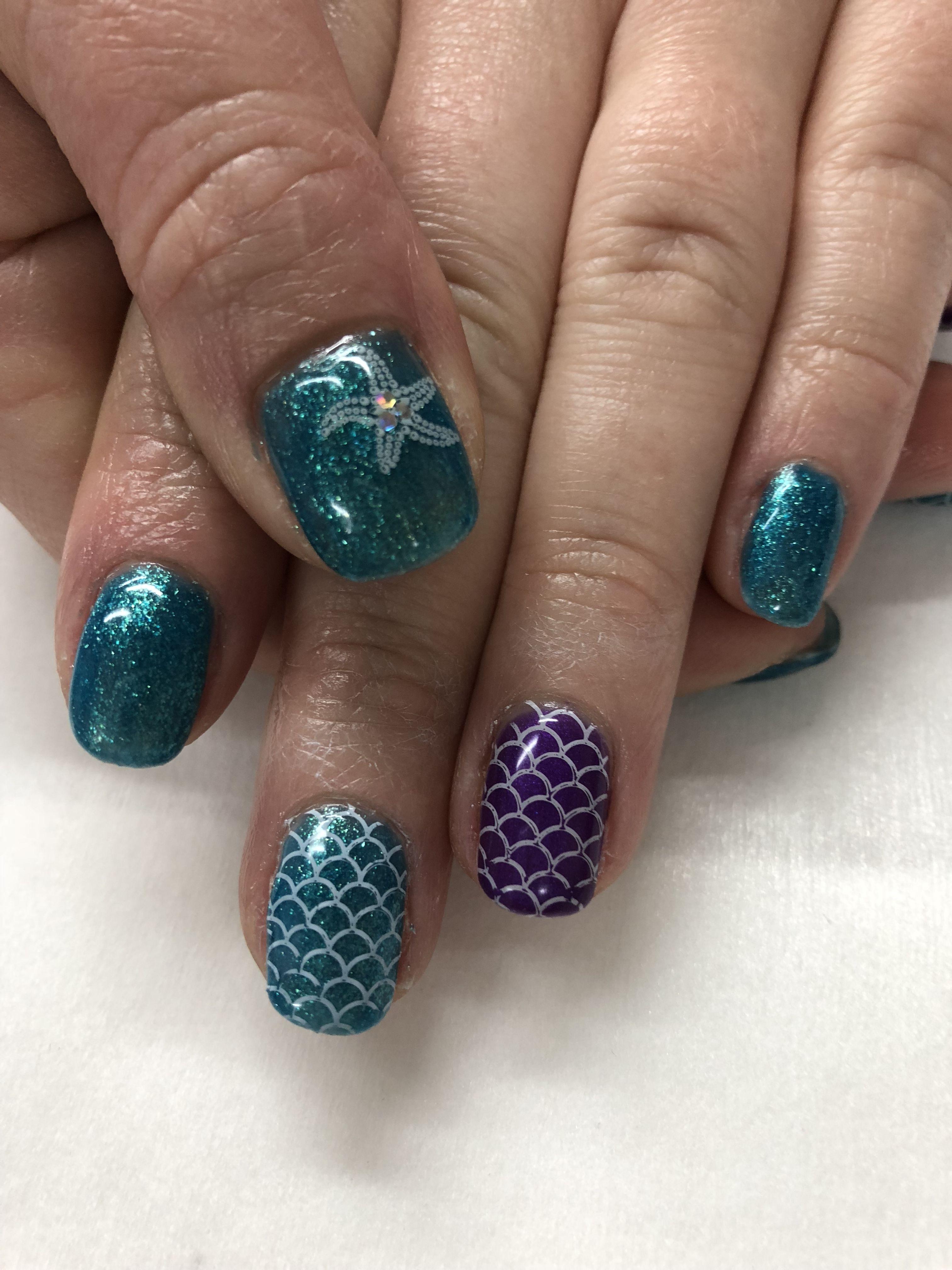 Teal Purple Mermaid Gel Nails Gel Nail Designs Pinterest