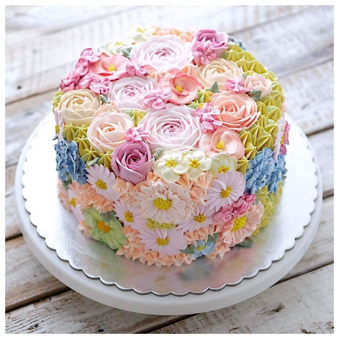 Spring Flowers Cake Baking Day In 2019 Cake Floral