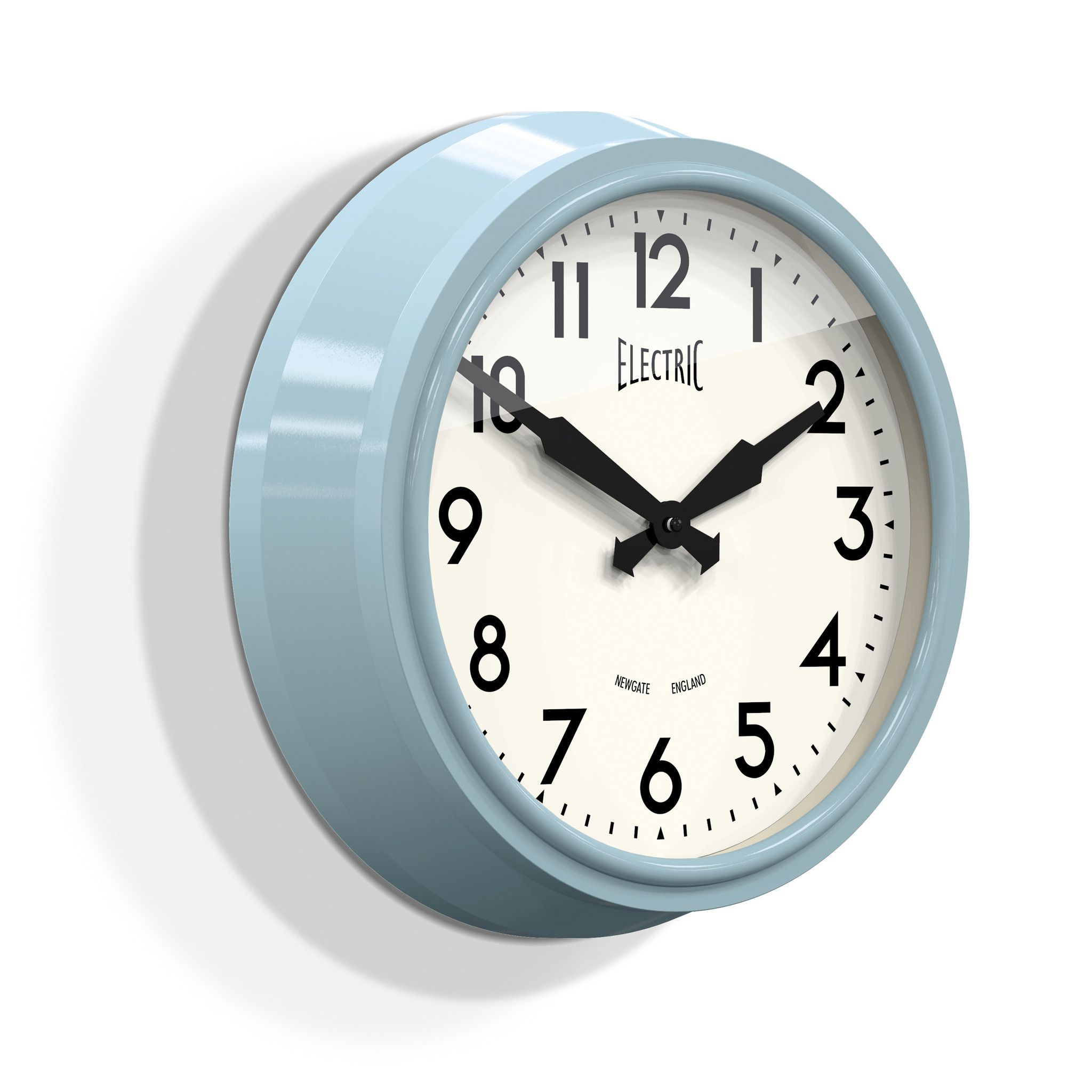 Medium Electric Wall Clock In Kettle Blue Design By Newgate Blue Wall Clocks Retro Wall Clock Wall Clock