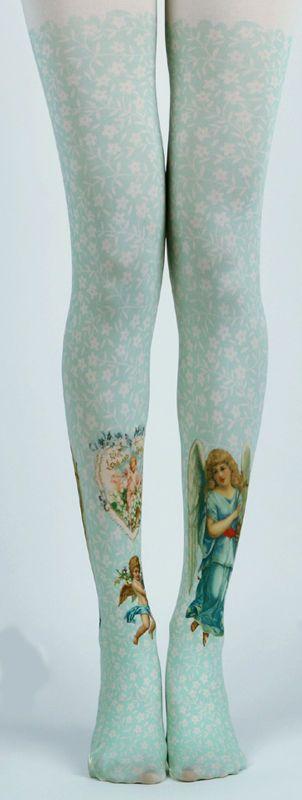 c6599d94af5 Gothic Victoriana Love + Devotion Angel Opaque Tights Lolita Steampunk  Harajuku