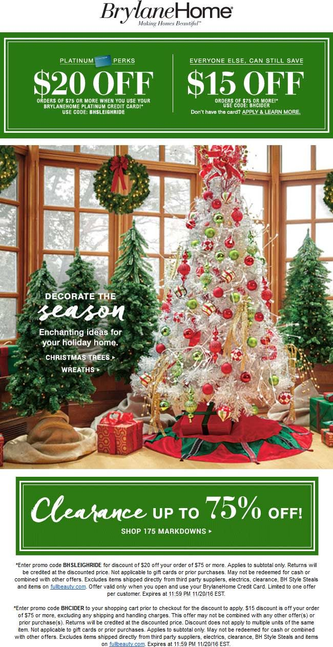 Pinned November 14th 15 Off 75 Online At Brylanehome Via Promo Code Bhcider Thecouponsapp Shopping Coupons Holiday Decor Christmas Tree