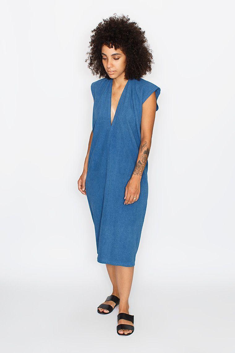 Everyday Dress, Silk Noil in Indigo