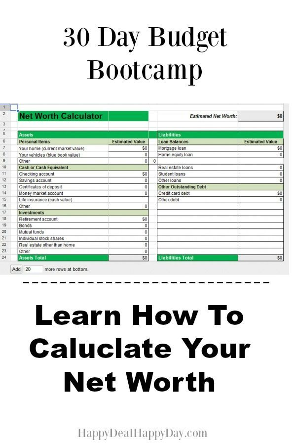30 Day Budget Bootcamp Calculate Your Household Net Worth Wise - net worth spreadsheet