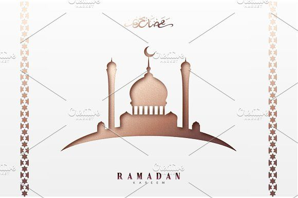 Ramadan greeting card with arabic calligraphy ramadan kareem ramadan greeting card with arabic calligraphy ramadan kareem islamic background with mosques by modern vector on creativemarket m4hsunfo