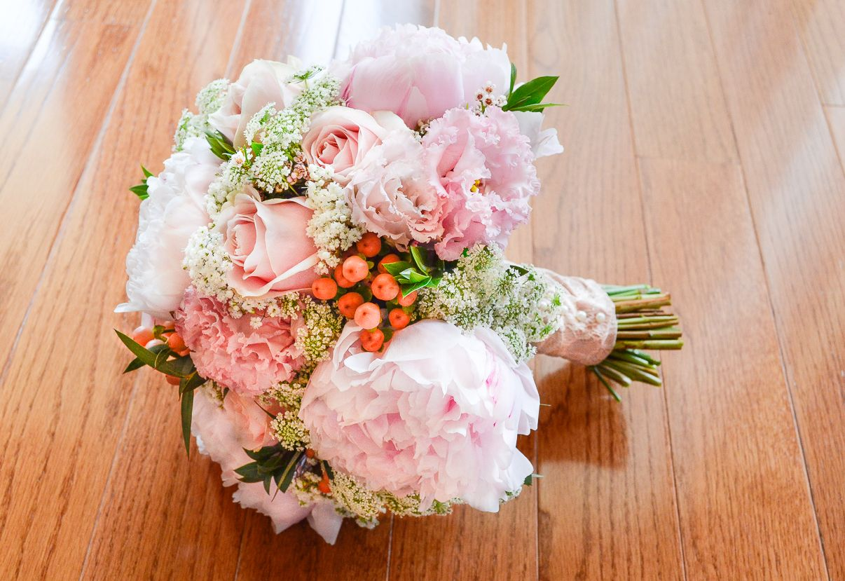 Peony Bridal Bouquet With Pale Pink Peonies, Sweet