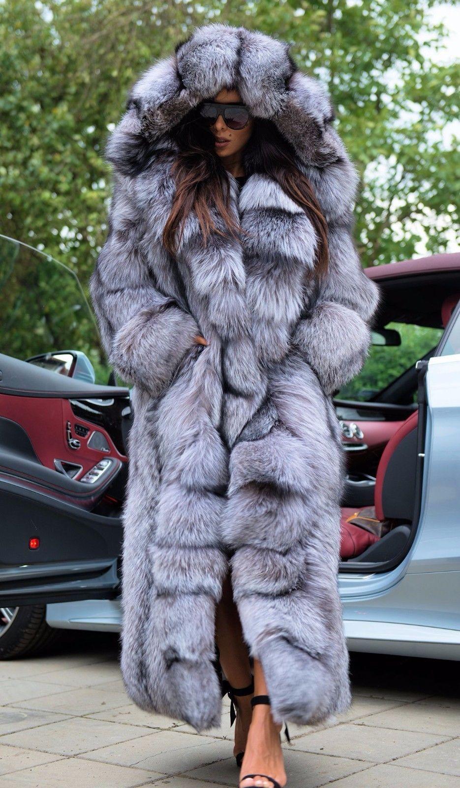 New Silver Royal Fox Fur Long Coat Hood Class Chinchilla Sable Mink Jacket Vest Fur Coat Fur Hood Coat Fox Fur
