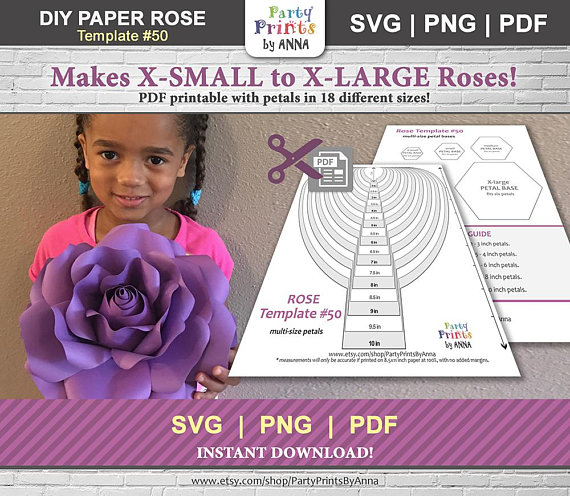Paper Flower Template Printable Rose Diy Small