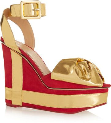 Charlotte Olympia All I Want suede and metallic-leather wedge sandals #Shoes