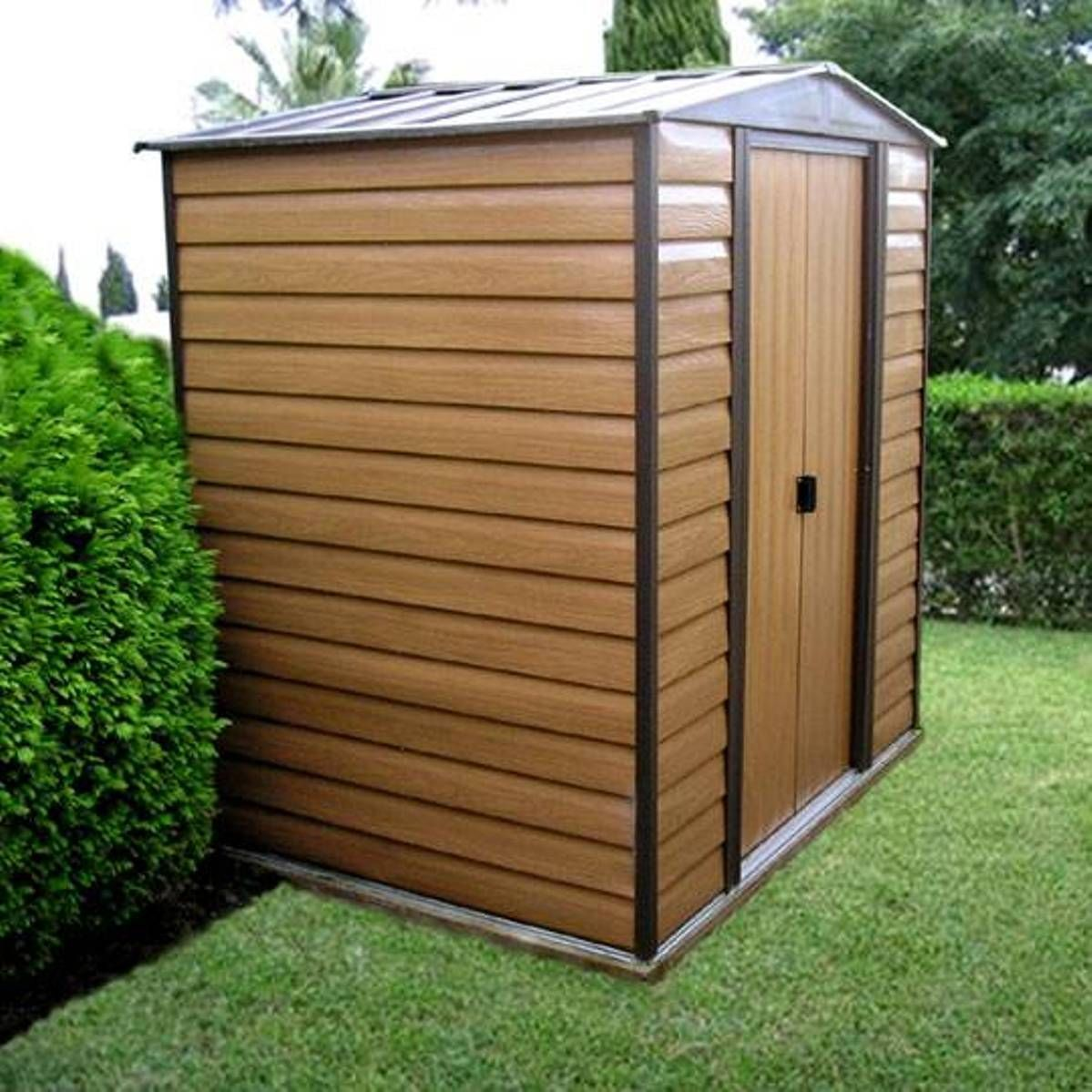 Brown Metal Garden Shed Metal Garden Shed Shed Diy Shed Plans Shed House Plans