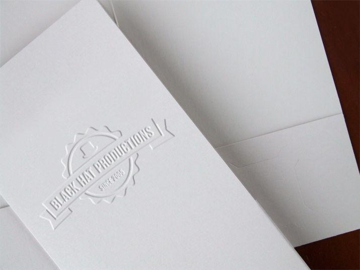 Embossed Press Kit Folder on Recycled Gray Laid Paper Stock - resume folder