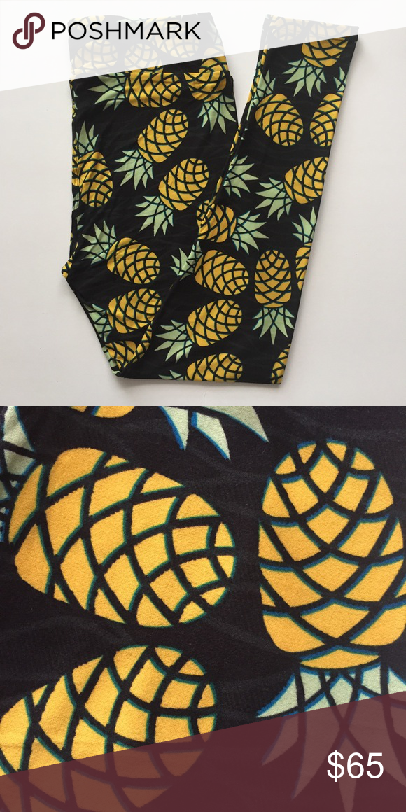 🍍NEW🍍 TC Lularoe Pineapples Buttery soft leggings by Lularoe. Brand new with tag. Popular pineapple pattern on black background. Made in Indonesia🇮🇩. We are open to offers through the offer button. ☺️. If you are unsure or have any questions, please be sure to ask! 💞 ***Please note: there is tiny manufacturer flaw of black ink on a pineapple near back right bum as depicted in third photo.*** LuLaRoe Pants Leggings
