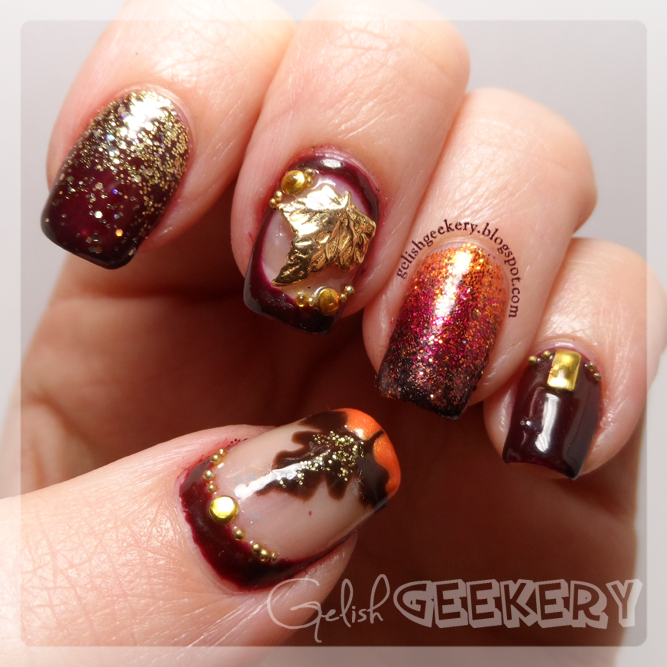 Gelish Japanese Nail Art Autumn Leaf Nails with Glitter by Gelish ...