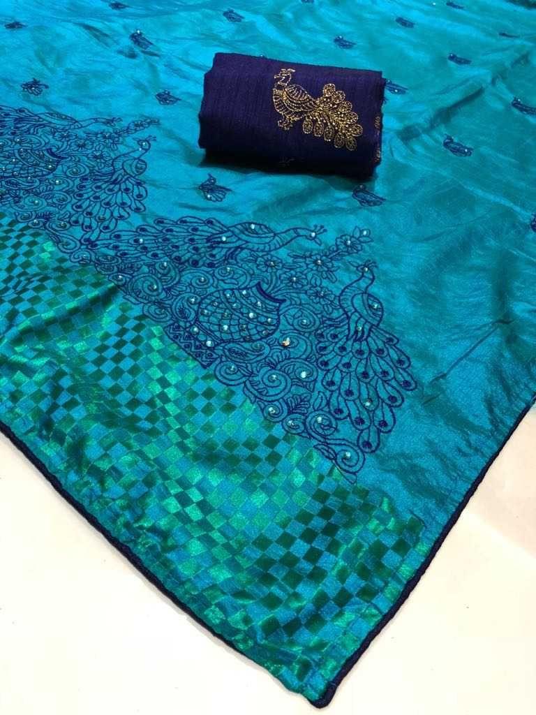 980bd1916 2tone Barfi sana silk Sarees at ₹1312. (PID: 101558) Full embroidery sana  silk sari with blouse.
