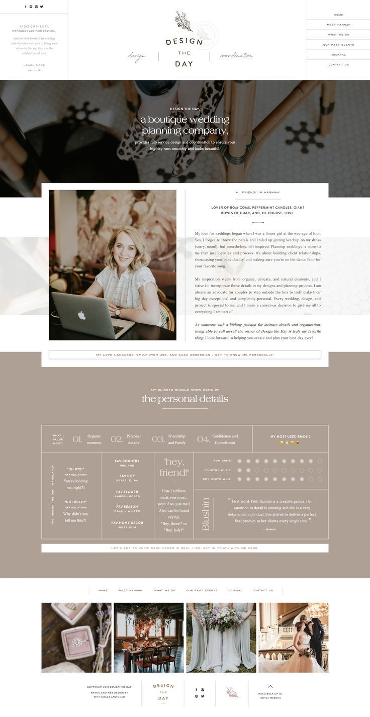 Custom Showit Web Design for Design the Day Events by With ...