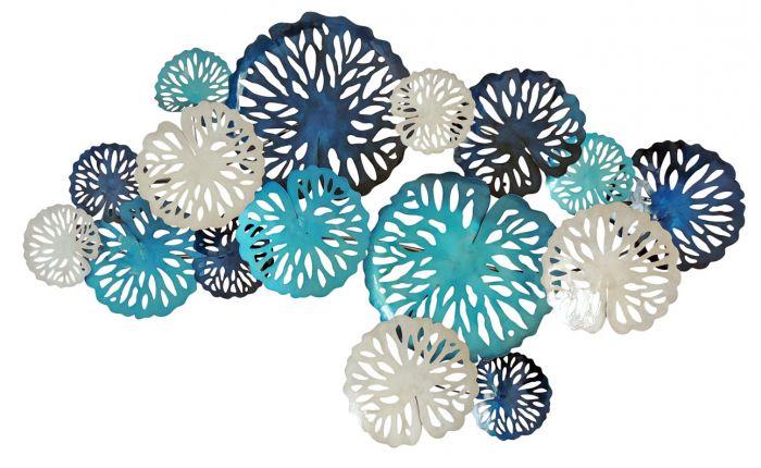 Aqua Blue Disc Coral Metal Wall Art Decor 389 95