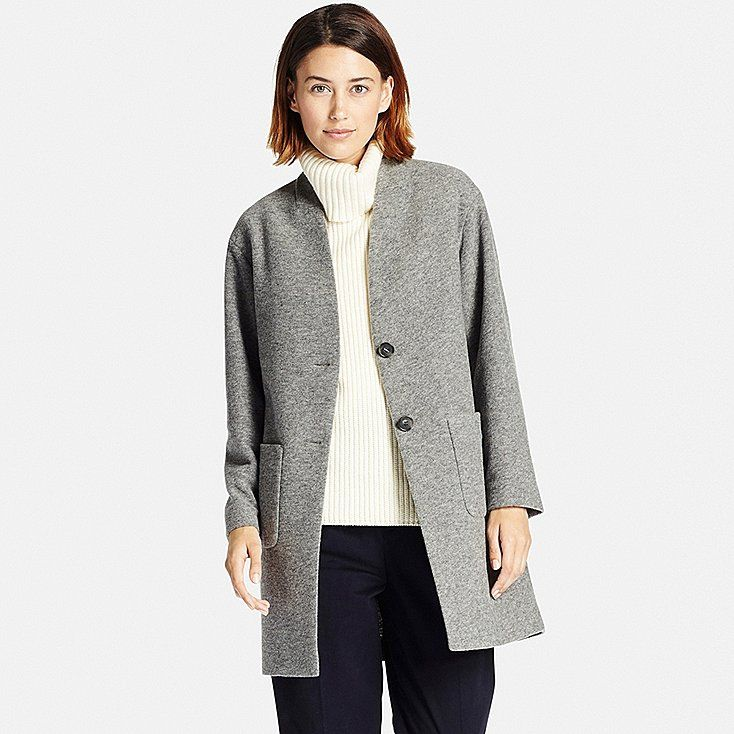 Women soft wool blend collarless coat | Uniqlo, Gray and Winter style