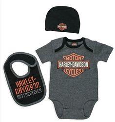 Harley Davidson Baby Boy Gift Bodysuit Hat Bib Leather Bound Online Harley Davidson Baby Baby Boy Gifts Biker Baby
