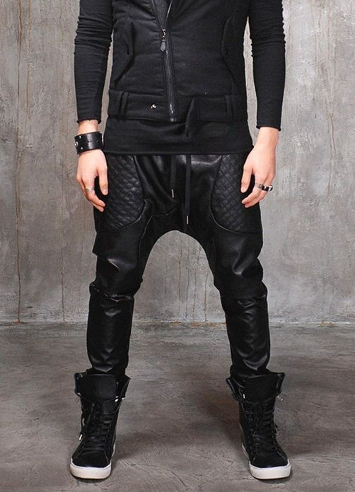 mens fashion harem pants drop crotch leather pants men