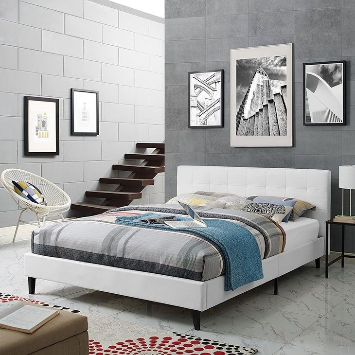 LexMod Linnea Queen Vinyl Bed in White Leather bed
