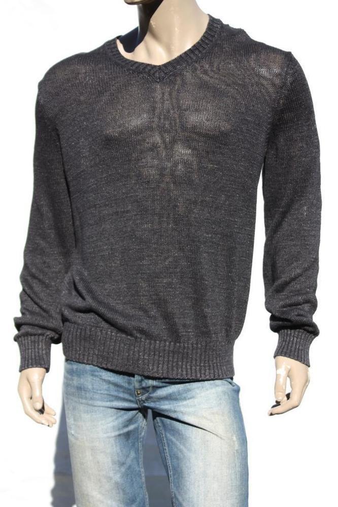 Mens Sweater Vince V Neck Linen Knit Black Pullover