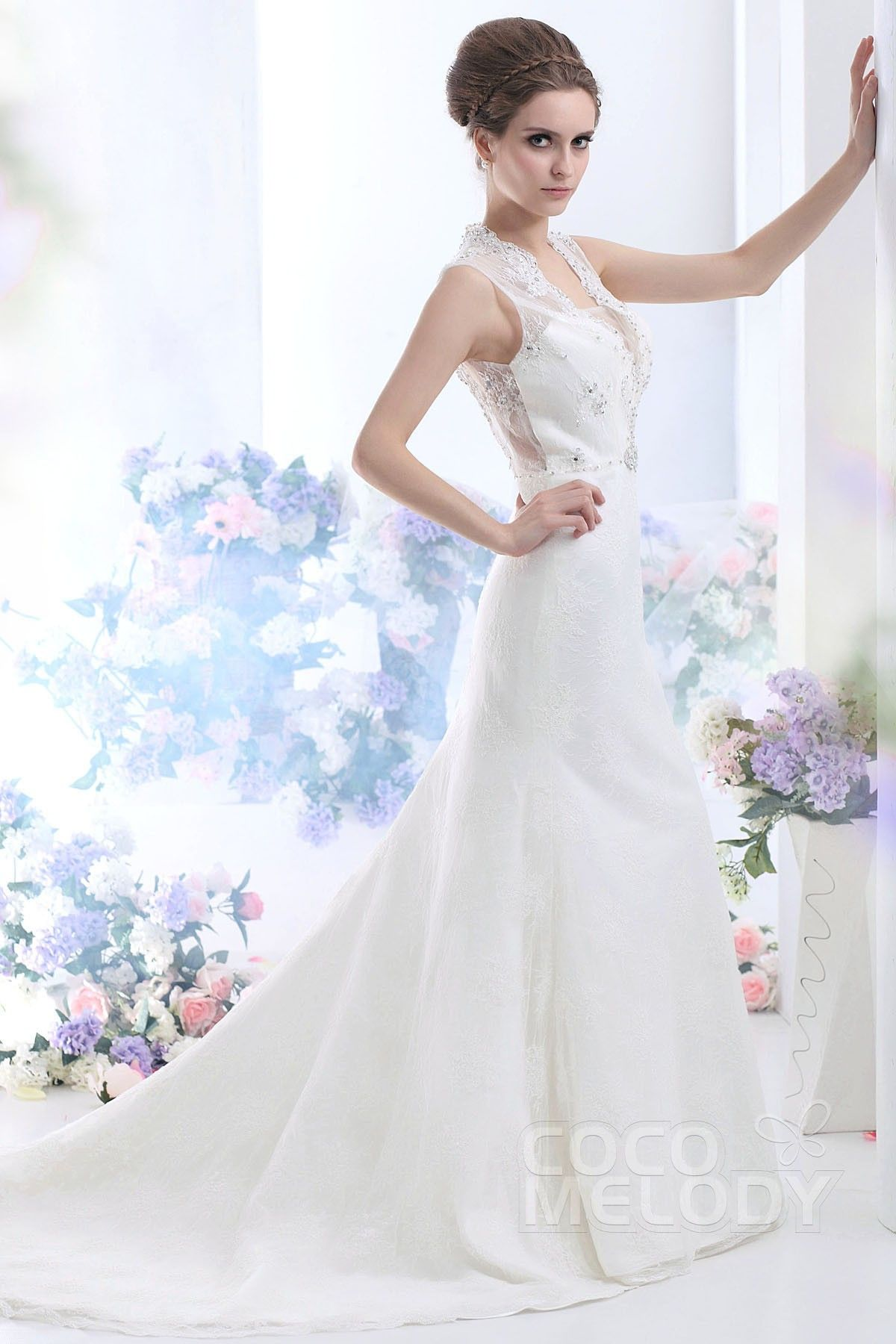 Wedding dresses mermaid style lace  New Style TrumpetMermaid VNeck Court Train Lace Wedding Dress