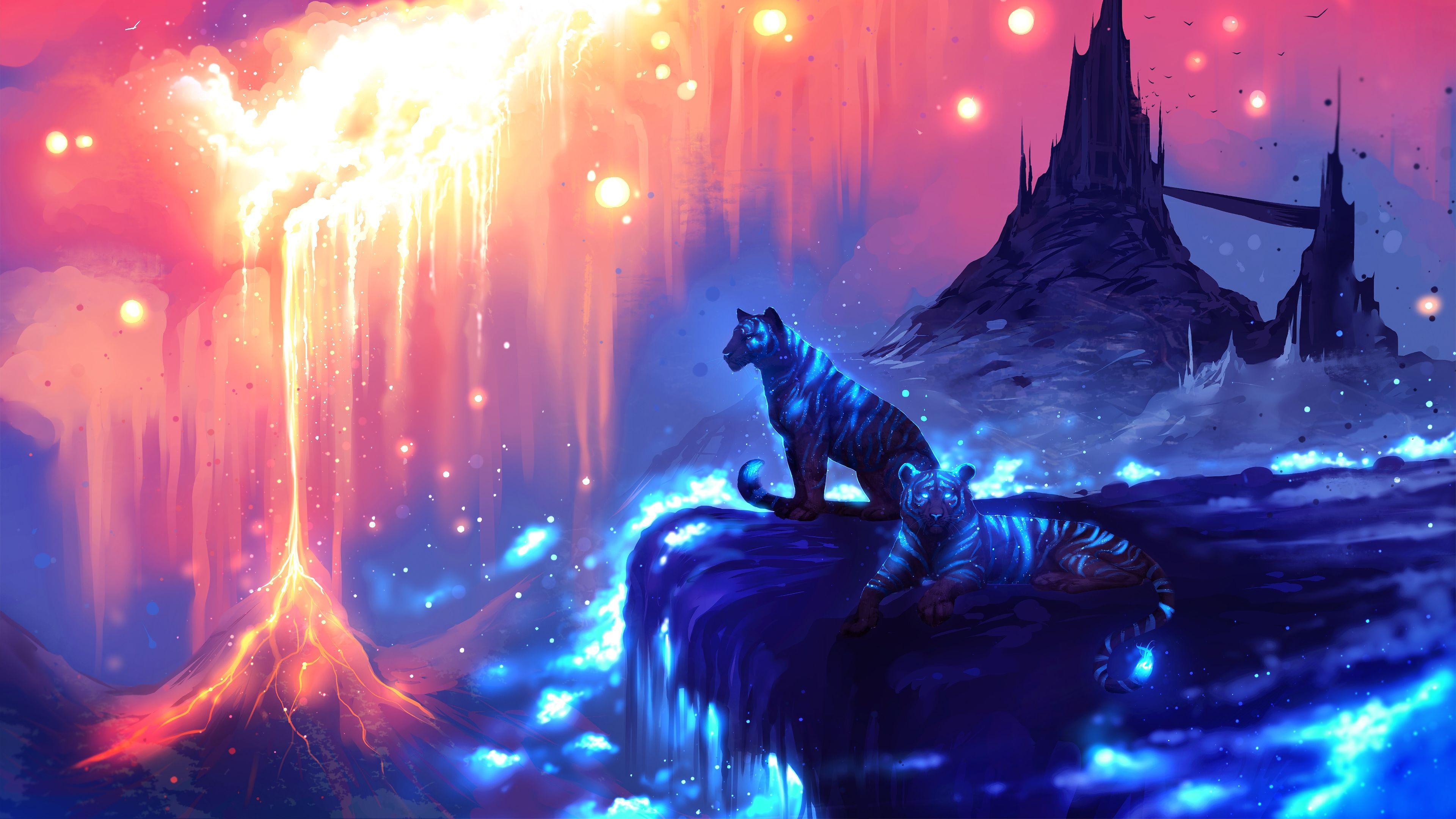 Tigers Fantasy Art 4K 2538 Fantasy landscape, Tiger art