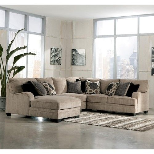 Signature Design By Ashley Furniture Katisha   Platinum 4 Piece Sectional  Sofa With Left Chaise