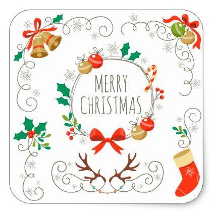 Simple And Elegant Christmas Decoration Sticker Christmas Stickers Xmas Eve Custom Holiday Merry Christmas